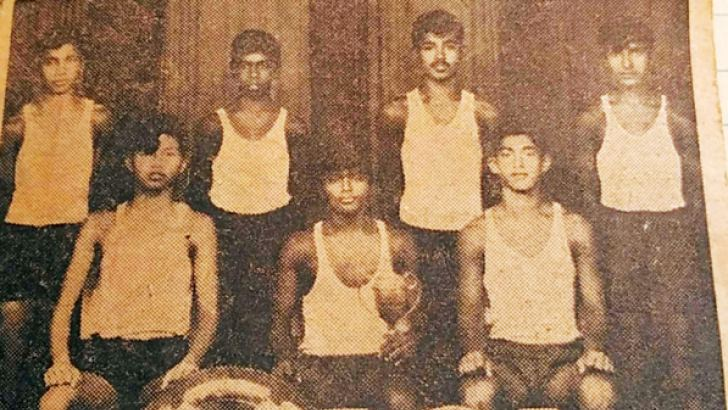 The All Ceylon Schools Under 19 Volleyball Champions 1970: Seated (from left): T. Cheapan, K. S. Somalpala Peiris (Captain), N. D. Gunasena (Vice Captain) Back Row Standing (from left): D. Jayasinghe, S. D. Munasinghe, H. A. Kumaradasa, L. C. Wijesiri, Absent - K. D. Dharmaratna (Principal), Victor Abeyrathne (MIC and Coach), P. G. S. Gunasekera