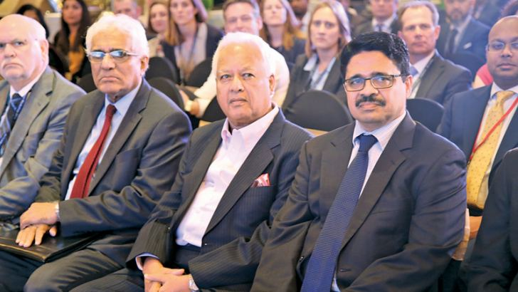 Minister Dr. Sarath Amunugama, Central Bank Governor Dr. Indrajith Coomaraswamy and other distinguished guests at the IFIAR inspection workshop inauguration.