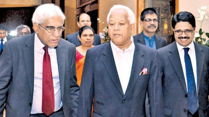 Special Assignments Minister, Dr. Sarath Amunugama and Central Bank Governor Dr. Indrajit Coomaraswamy at the event.