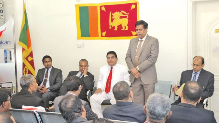Sri Lankan Ambassador to Qatar A. S. P. Liyanage and others during the event.