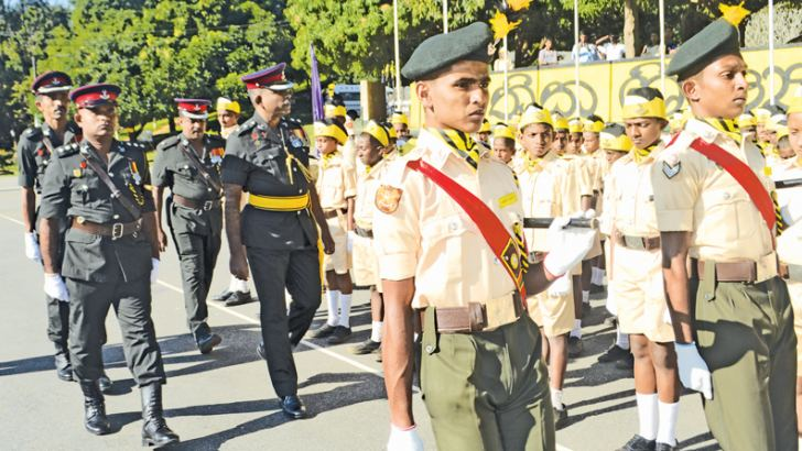 The Chief Guest inspecting the cadet parade.