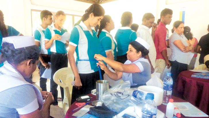 Over 300 people were screened for diabetes at the health camp held at Getambe Sudharmaramaya Temple in Kandy recently.