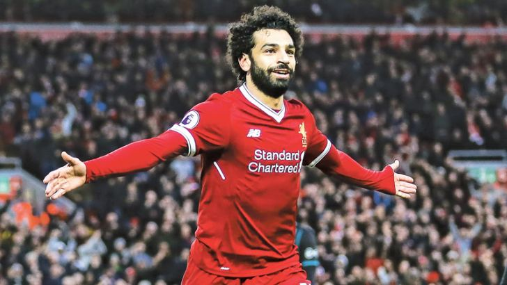 Liverpool's Mohamed Salah celebrates scoring their second goal