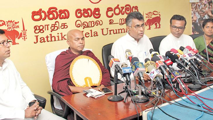 Megapolis and Western Development Minister Patali Champika Ranawaka speaks at the press conference yesterday. Picture by Roshan Pitipana
