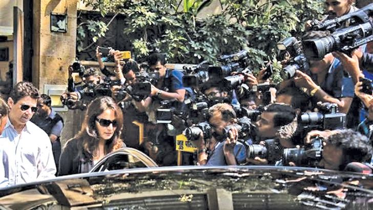 A host of film stars paid their last respects to Sridevi yesterday. Here, Madhuri Dixit and her husband Sriram Nene at actor Anil Kapoor's residence.