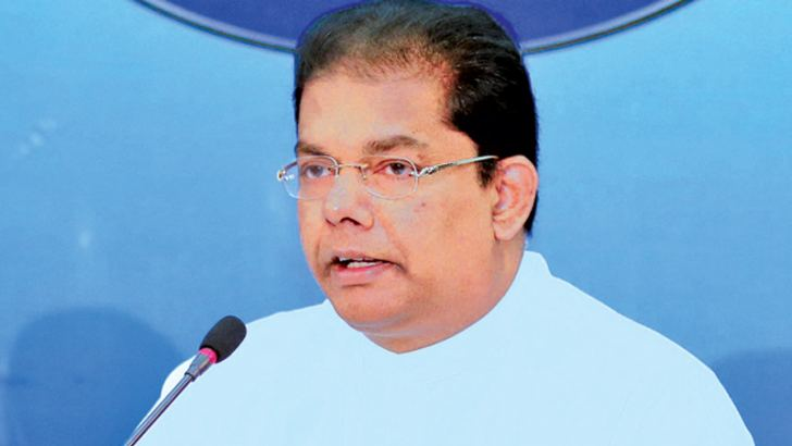 Minister Gayantha Karunathilaka speaks at the Cabinet media briefing yesterday.  Picture by Saman Sri Wedage