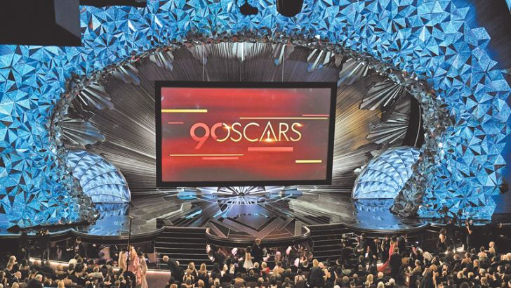 A general view shows the stage during the 90th Annual Academy Awards show. - AFP