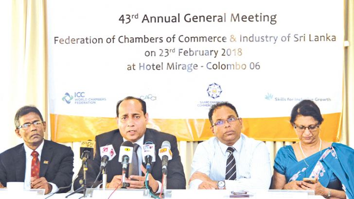 Ruwan Edirisinghe, President of Federation of Chambers of Commerce and Industry of Sri Lanka (FCCISL), Sarath Kahapalaarachchi, Immediate Past President, FCCISL, Ajith D. Perera, Secretary General, FCCISL and Shirley Jayawardena, Senoir Vice President, FCCISL at the event. Picture by Saliya Rupasinghe