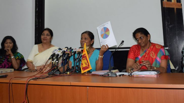 President of the Netball Federation of Sri Lanka Mrs. Trixie  Nanayakkara (fourth from left) addresses the media. Ms. T. M. P. Kumarihamy, Project Officer – Ministry Of Sports, Ms. Shiromi Kuruppu, Vice President and Secretary of Sri Lanka Schools Netball Association, Mrs. Victoria Lakshmi, Vice President –Netball Fedration of Sri Lanka, Mrs. Jayanthi Somasekaram de Silva, (Secretary, Netball Federation of Sri Lanka) and Ms. Thilaka Jinadasa, (National Coach) also present.  (Picture by Herbert Perera).
