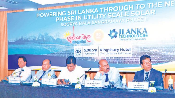Dr. B.M.S Batagoda, Secretary to the Ministry of Power and Renewable Energy, Eng. Buddhika Samarasekara, Chief Engineer (Generation Planning) of the CEB, State Minister of Power and Renewable Energy Ajith P. Perera, Eng. Dr. H.M Wijekoon Banda, Chief Engineer (Transmission Planning) of the CEB and Jayantha Jayamanna, Chief Operating Officer of JLanka.
