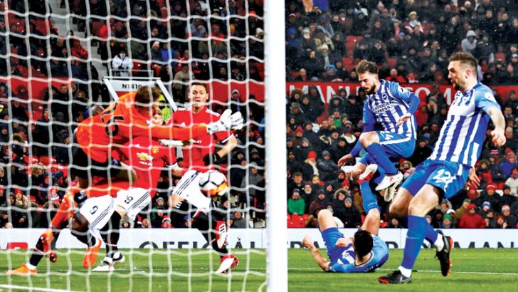 Manchester United's Nemanja Matic scores their second goal.
