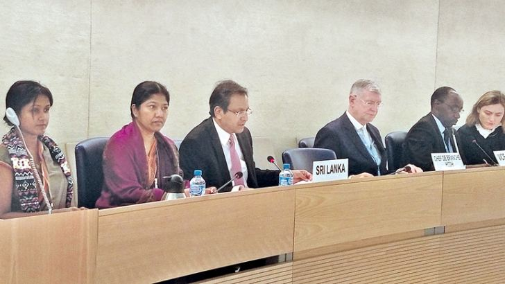 Sri Lanka's Permanent Representative Ambassador Ravinatha Aryasinha making a statement at the 37th session of the UN Human Rights Council in Geneva. The adoption of the Universal Periodic Review Report (UPR) on Sri Lanka took place yesterday.