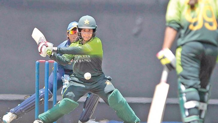 Pakistan's Javeria Khan swept with authority as she brought up her second ODI hundred in the opening match against Sri Lanka at Rangiri Dambulla Stadium yesterday.