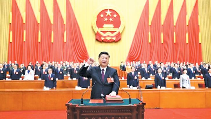 Chinese President Xi Jinping delivering a speech during the closing of the first session of the 13th National People's Congress at the Great Hall of the People in Beijing, China yesterday.