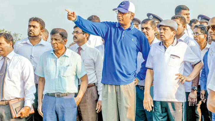 President Maithripala Sirisena went on an inspection tour of the Muthurajawela wetland area yesterday.  Picture by President's Media Division