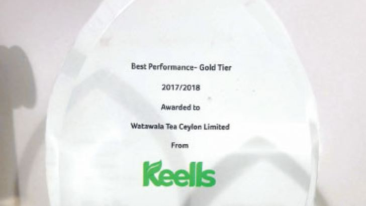 The Gold Award won by Watawala Tea Ceylon at the Keells Suppliers Convention