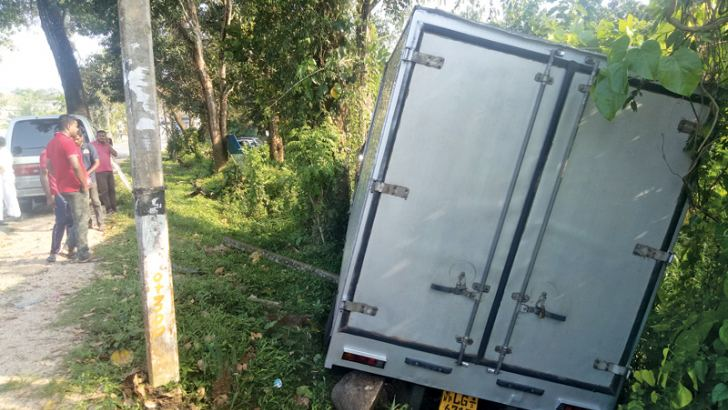 The lorry after it ran off the road.