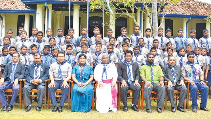 Troop Picture with Rev. Asiri Perera (President of the Sri Lanka Methodist Church), Principal Avanka Fernando, Scout Leaders, Akelas and Troop Leader.