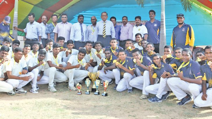 The victorious Rahula College. Matara team and Heartly College teams with officials and trophies