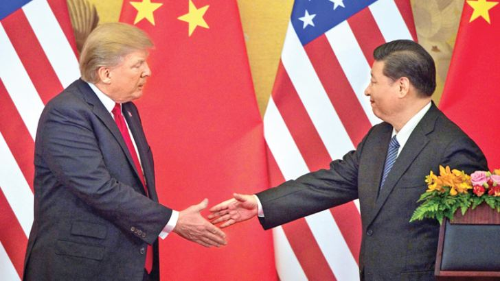 US President Donald Trump meeting Chinese President Xi Jinping.