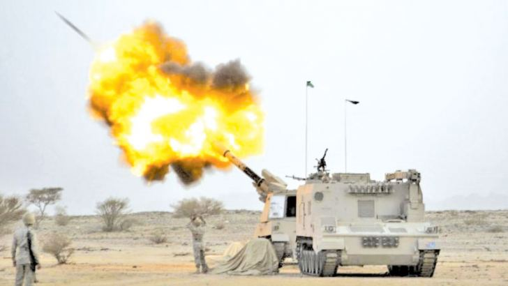 Saudi army artillery fire shells towards Houthi movement positions at the Saudi border with Yemen.