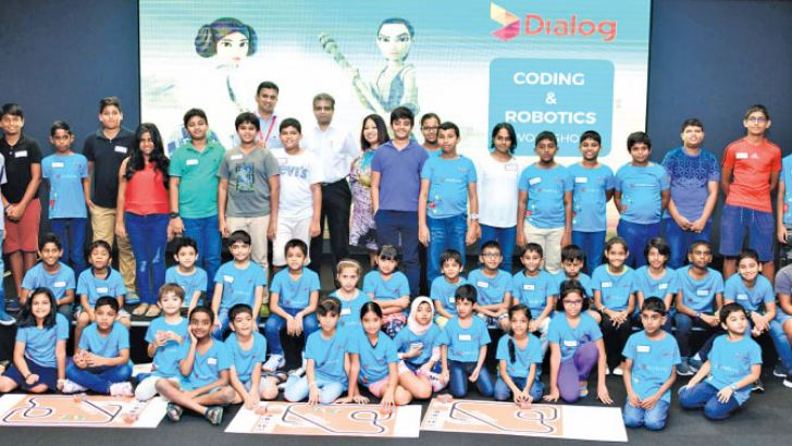 The young aspiring coders with Supun Weerasinghe, Group Chief Executive, Dialog Axiata PLC, Dr. Hans Wijayasuriya, Corporate Executive Vice President and Regional Chief Executive for South Asia, Axiata Group Berhad and Sandra De Zoysa, Group Chief Customer Officer, Dialog Axiata PLC.