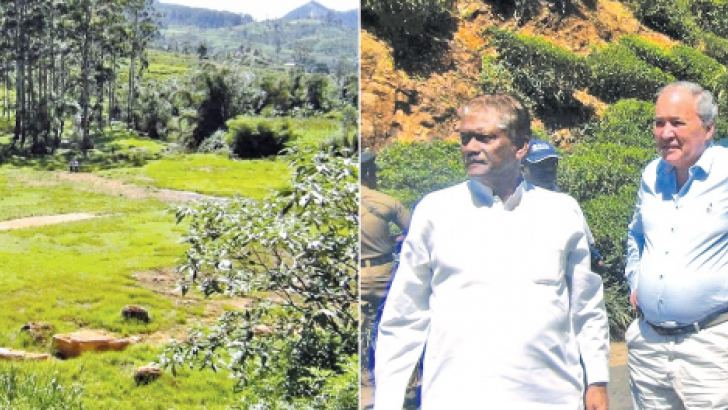 Prime Minister Ranil Wickremesinghe inspecting the land earmarked for a golf course.