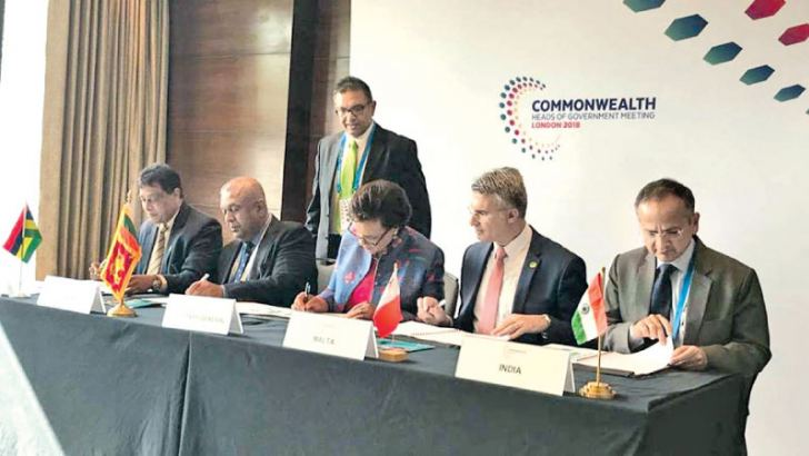 Mangala Samaraweera, Minister of Finance & Mass Media at the Commonwealth Heads of Government Meeting in the United Kingdom