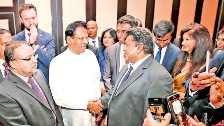 President Maithripala Sirisena being warmly welcomed by the Sri Lankan community living in London.