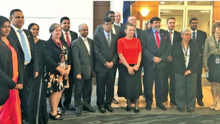Inaugural talks under Australia-Sri Lanka Trade and Investment Framework arrangement were held at the Department of Foreign Affairs and Trade in Canberra yesterday. Here the officials of the two countries after a productive day of talks.(Courtesy: Sri Lanka High Commission in Australia twitter)