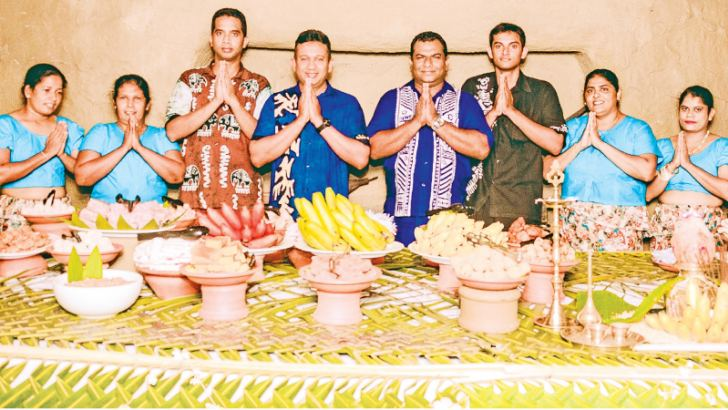 Staff members of the Nuga Gama village welcomed guests to the traditional Avurudu table