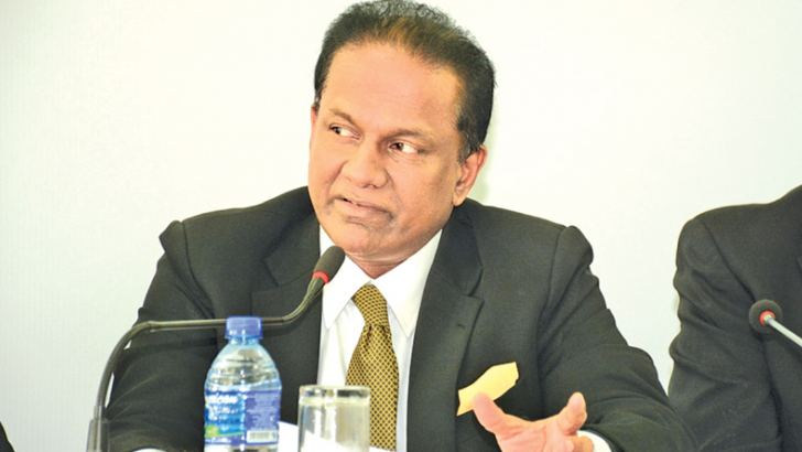 SLC president Thilanga Sumathipala speaking at the press conference yesterday.