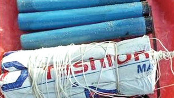 The seized haul of dynamite.  Picture by A. M. A. FAREED,  Trincomalee District Special Corr.