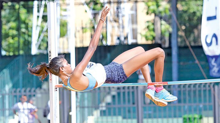 Purnima Jayamali Gunaratna clears the bar by 1.80 metres to set up a new meet record in the Girls U23 High Jump.