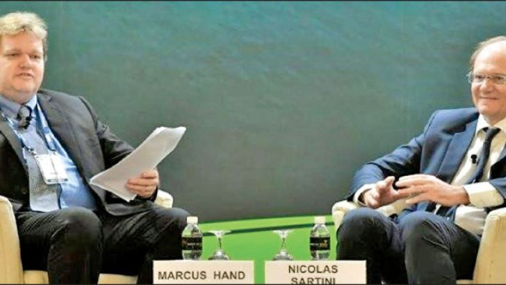 Nicolas Sartini, CEO of APL (right) and his Fireside Chat session with Marcus Hand, Editor of Seatrade. ( Maritime News)