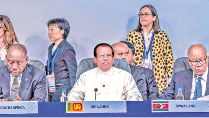 President Maithripala Sirisena at a CHOGM meeting.