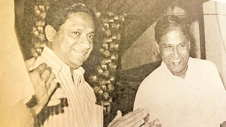 President Premadasa at a function held at Sucharitha Hall to felicitate Sirisena Cooray prior to his departure as the High Commissioner to Malaysia.