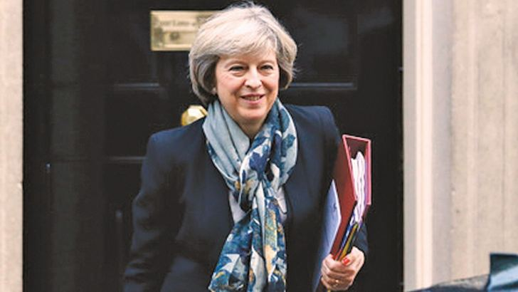British Prime Minister Theresa May leaves Number 10, Downing Street.