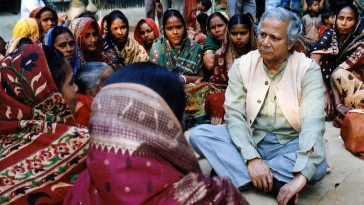 Social entrepreneur, banker, economist, civil society leader who is sometimes called the father of microfinance, Muhammad Yunus, meets with women entrepreneurs in Dhaka, Bangladesh. - AFP