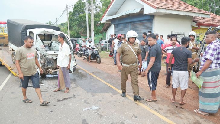 Police inspecting the scene of the accident.