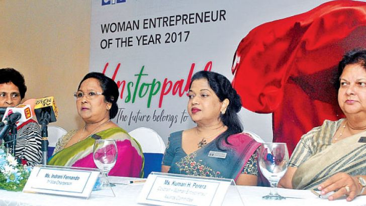 Renuka Fernando, Co-chair - Woman Entrepreneur Awards Committe, Chathuri Ranasinghe, Chairperson - WCIC, Indrani Fernando, First Vice Chairperson, Kumari H. Perera, Co-chair - Woman Entrepreneur Awards Committe at the press briefing.  Pictures by Siripala Halwala