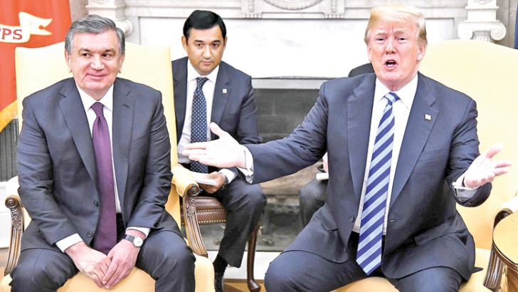 US President Donald Trump at the White House on Wednesday with Uzbek President Shavkat Mirziyoyev.