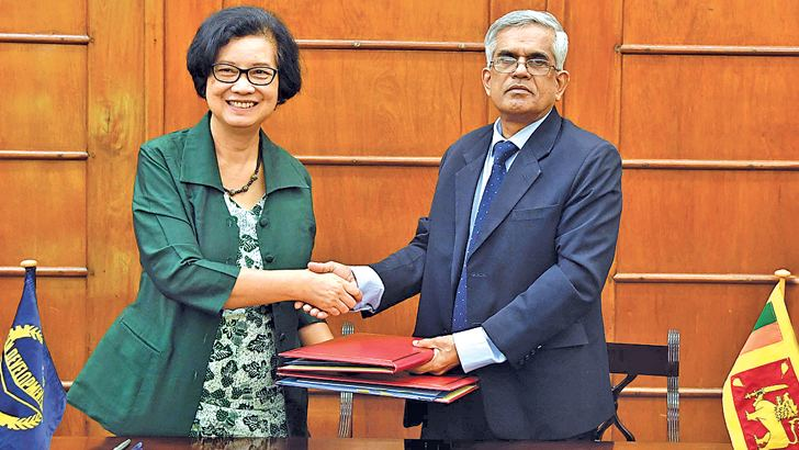Finance and Mass Media Ministry Secretary Dr. R H S Samarathunga and ADB Sri Lanka Resident Mission Country Director Sri Widowati, signed the two loan agreements.