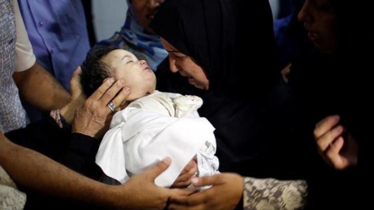 Eight-month-old Laila al-Ghandour died after choking on tear gas fired by Israeli tear gas. Photograph: (Twitter)