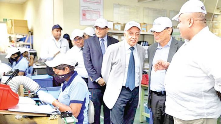Minister Malik Samarawickrama visiting a factory at the Biyagama Zone