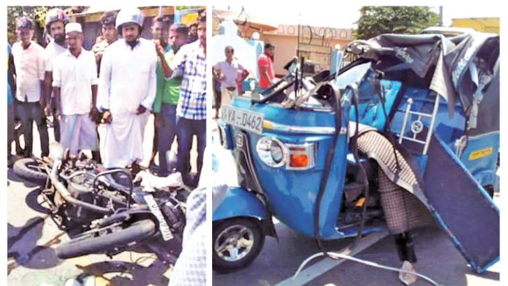 The motorcycle and three-wheeler involved in the accident. Picture by Sivam Packiyanathan, Batticaloa Special Corr.