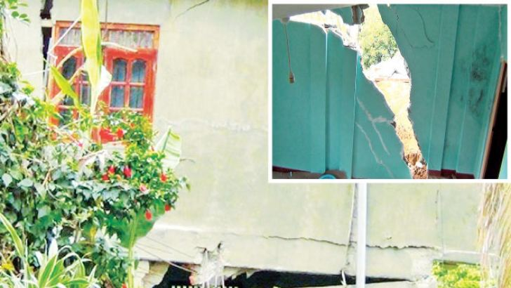 Some houses affected by ground subsidence. Pictures by Asela Kuruluwansa