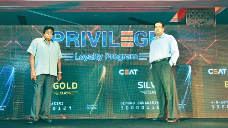CEAT Kelani Chairman Chanaka de Silva and Managing Director Ravi Dadlani at the launch of the CEAT Privilege Class loyalty program.