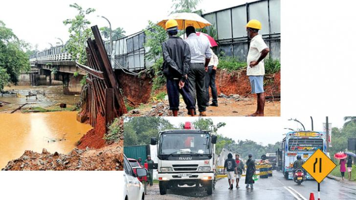Vehicular movement on the Kaduwela-Biyagama bridge  connecting the Colombo district with the Gampaha district was limited to a single lane due to the heavy erosion of earth on the sidebanks of the bridge was reported yesterday morning.  Pictures by Rukmal Gamage.