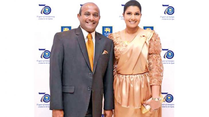 Head of SLC women's cricket Apsari Singhabahu Tillakaratne with her husband and former Sri Lanka captain Hashan Tillakaratne.